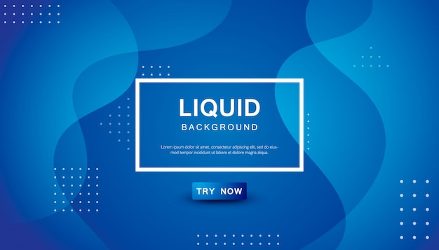Blue wave liquid color background Premium Vector