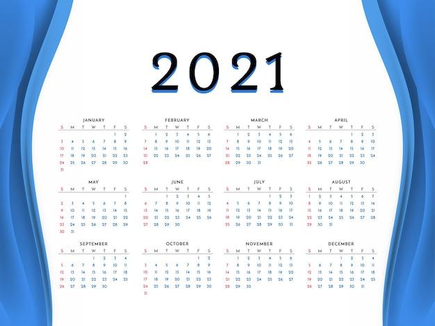 ブルーウェーブスタイル2021年新年カレンダーデザイン 無料ベクター