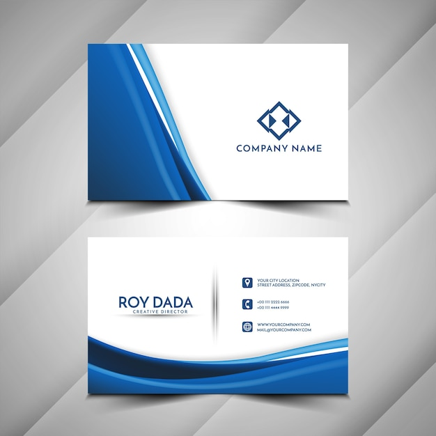 Blue wave stylish business card template Free Vector