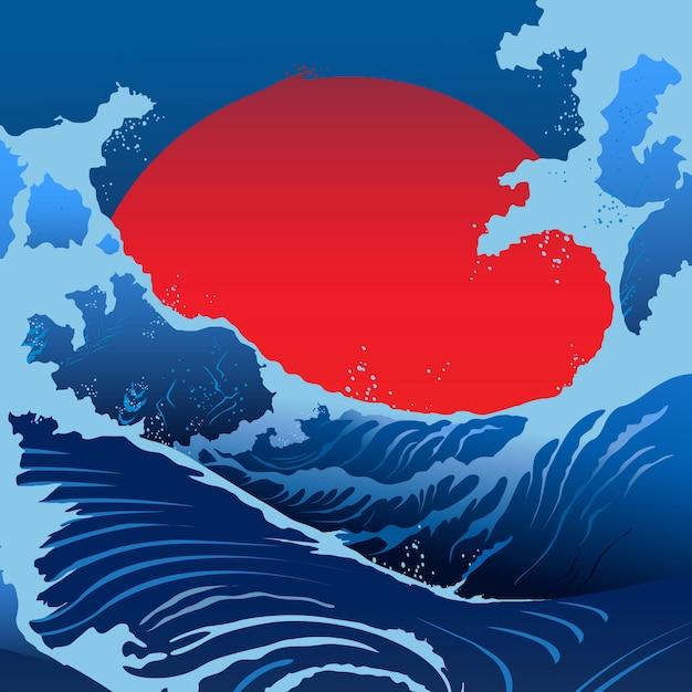 Синие волны и красное солнце в японском стиле Premium векторы