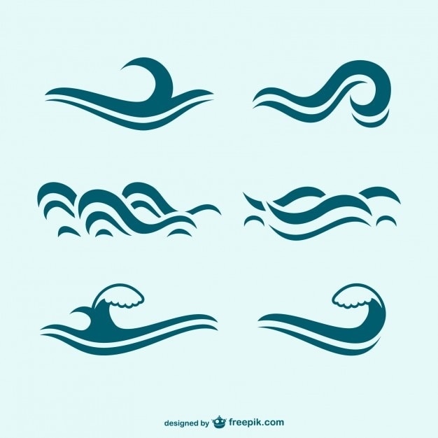 Blue waves icon pack Vector | Free Download