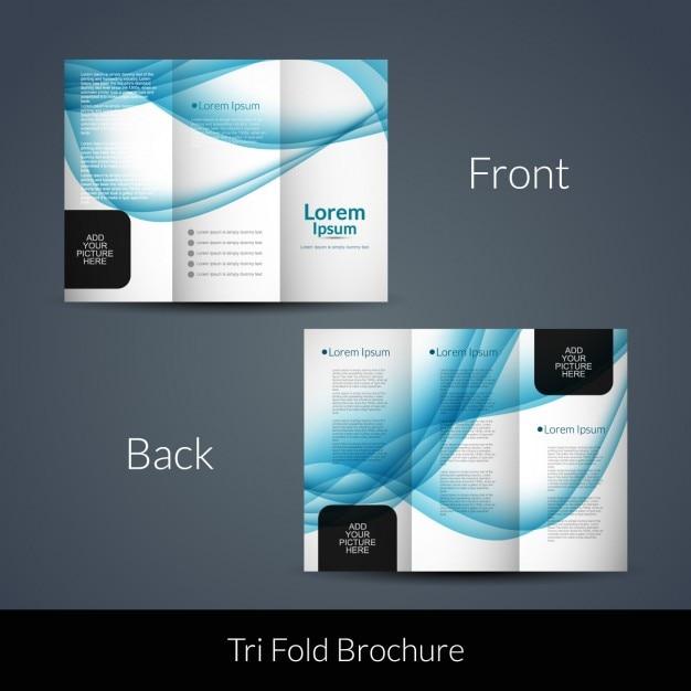 Blue waves tri fold brochure Vector | Free Download