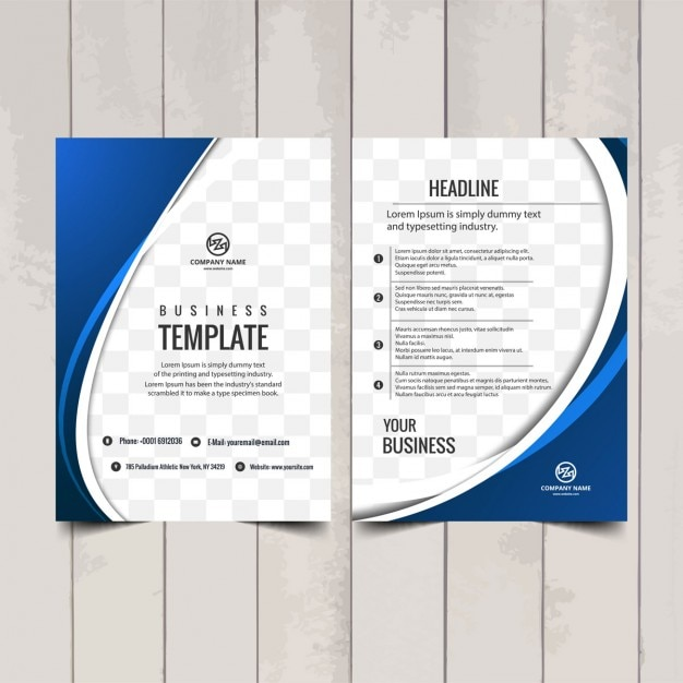 Blue wavy brochure template vector free download for Free catalog template