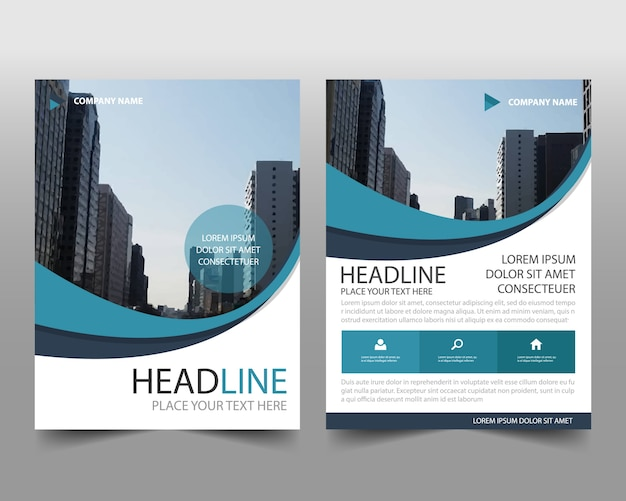 Business Book Cover Template ~ Blue wavy business book cover template vector free download
