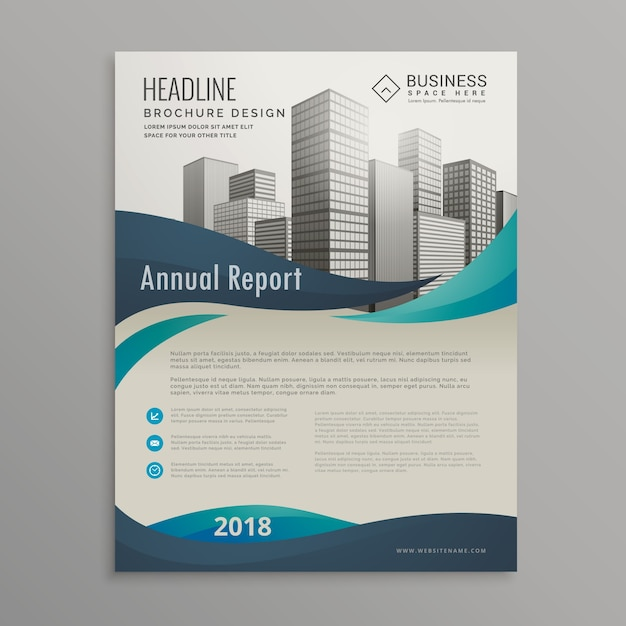 Blue Wavy Business Brochure Design Vector | Free Download