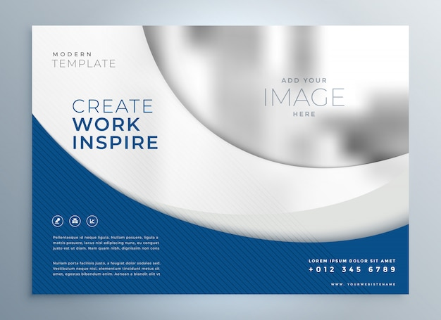 Blue wavy business brochure presentation template Free Vector