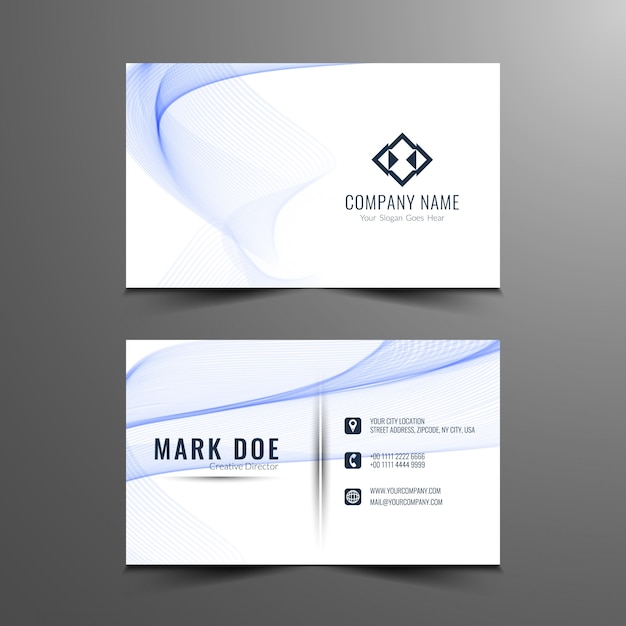 Blue wavy business card template Free Vector