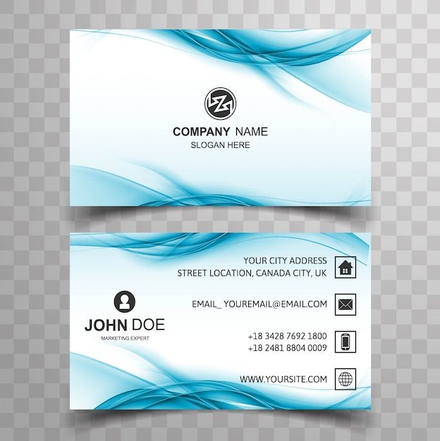 Blue wavy business card Free Vector