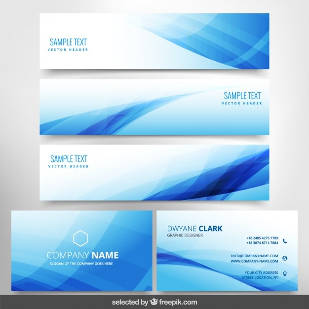 Blue wavy business stationery Free Vector