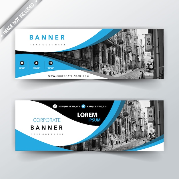 blue wavy business website banners vector free download