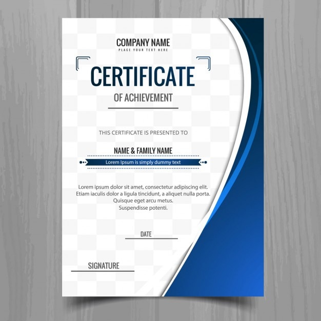 Blue Wavy Certificate Template Vector Free Download