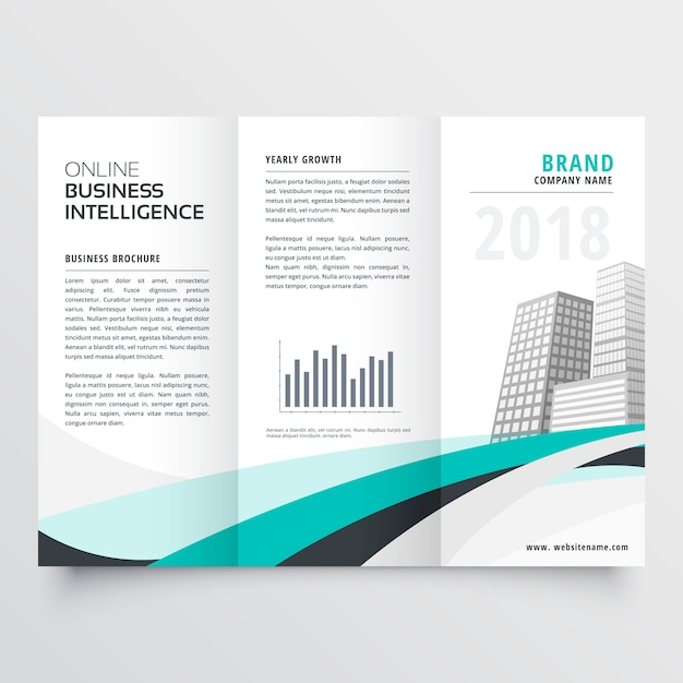 Blue wavy corporate business trifold brochure design Free Vector