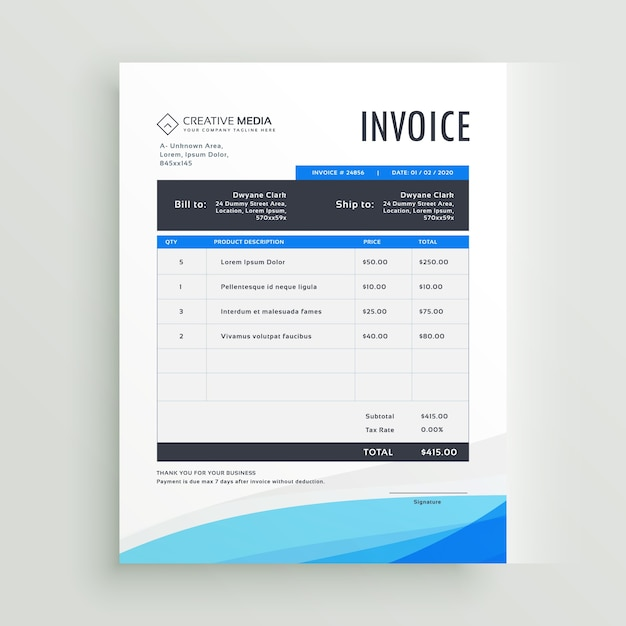 Blue Wavy Invoice Template Vector Free Download