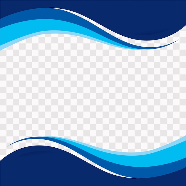 Blue wavy shapes on transparent background Free Vector