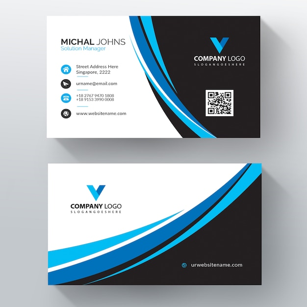 Blue wavy vector business card template Free Vector
