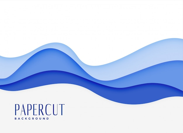 青い波状水スタイルの紙版画の背景 無料ベクター