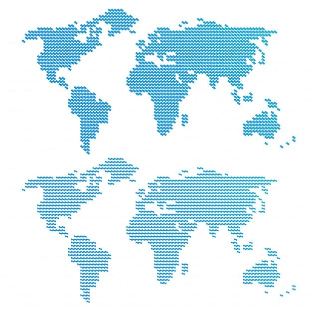 Blue wavy world map Premium Vector