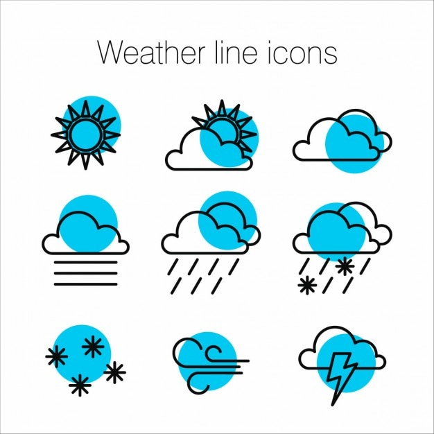 Blue weather icons Free Vector