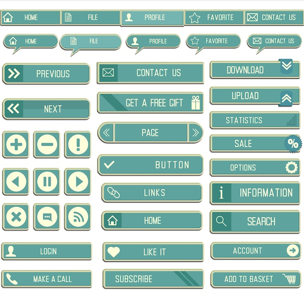 Blue web buttons Free Vector