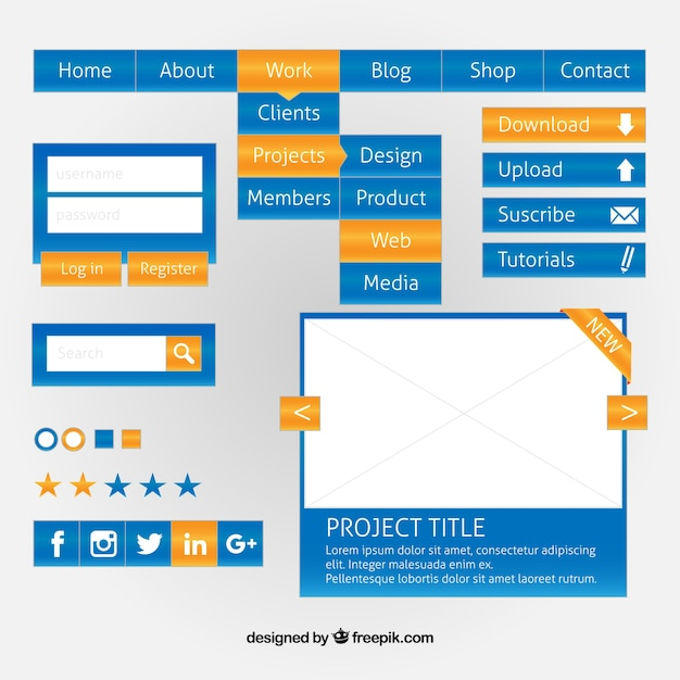 Blue web design elements with yellow details Free Vector