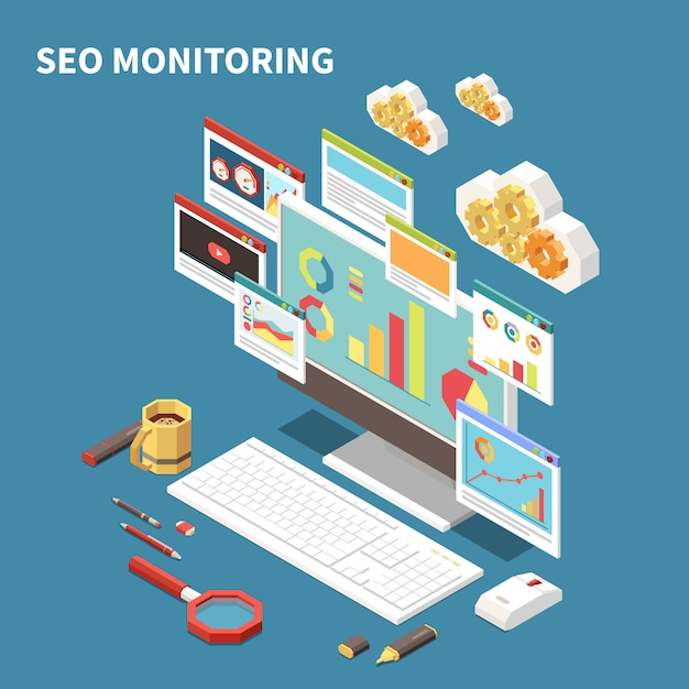 Blue web seo isometric composition with seo monitoring headline and isolated elements windows clouds  illustration Free Vector