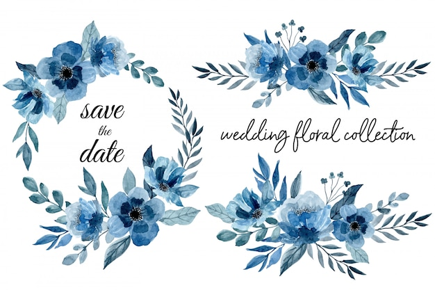 Blue wedding floral collection with watercolor Premium Vector
