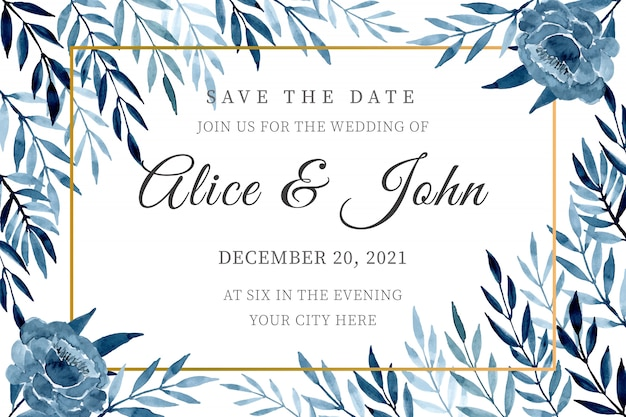 Blue wedding invitation card template with watercolor leaves Premium Vector