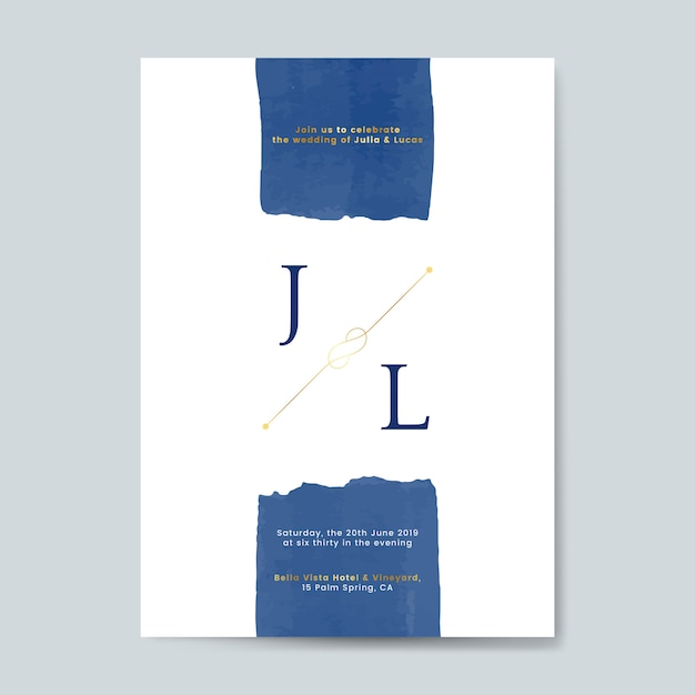 Blue wedding invitation card vector Free Vector