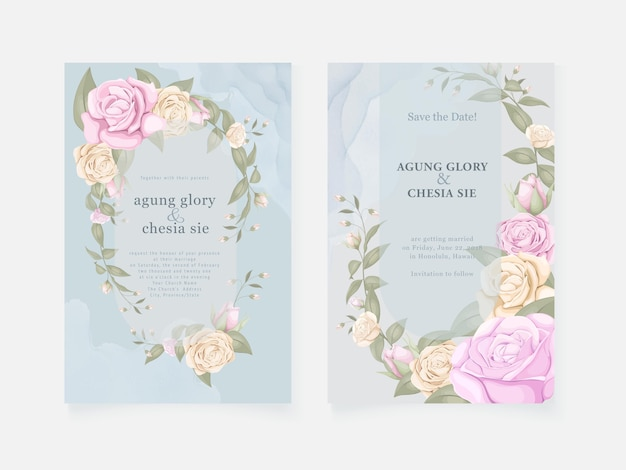 Blue wedding invitation card with roses and leaves Premium Vector