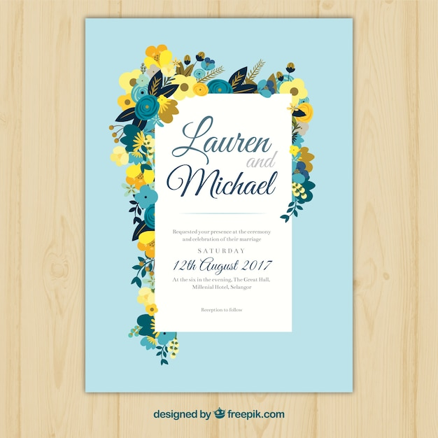Blue wedding invitation with flat floral decoration Free Vector