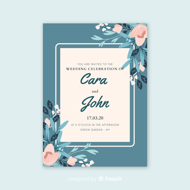 Blue wedding invitation with flowers Free Vector