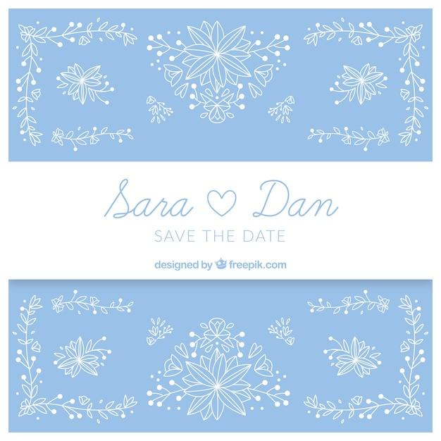 Blue Wedding Invitation With Hand Drawn Decorative Flowers Vector