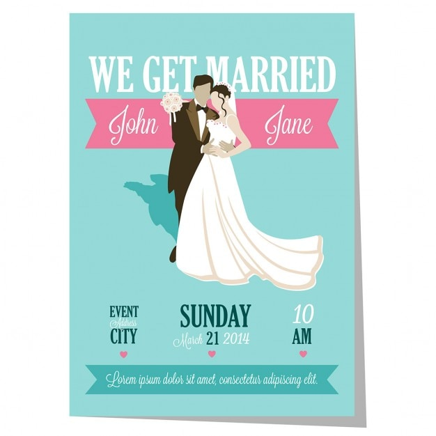 Blue wedding invitation Free Vector