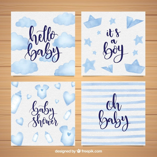 blue welcome baby card templates vector free download