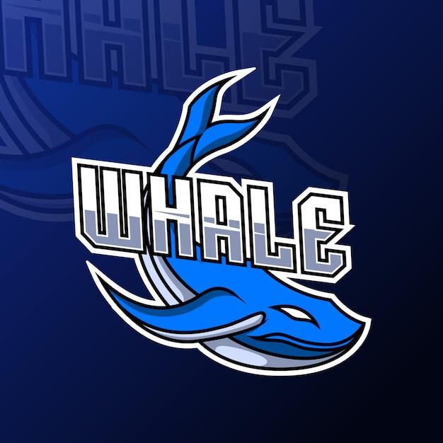 シロナガスクジラ魚マスコットチームスポーツチームのスポーツスポーツのロゴのテンプレート Premiumベクター