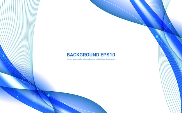 Blue and white abstract line smooth curve background. Premium Vector