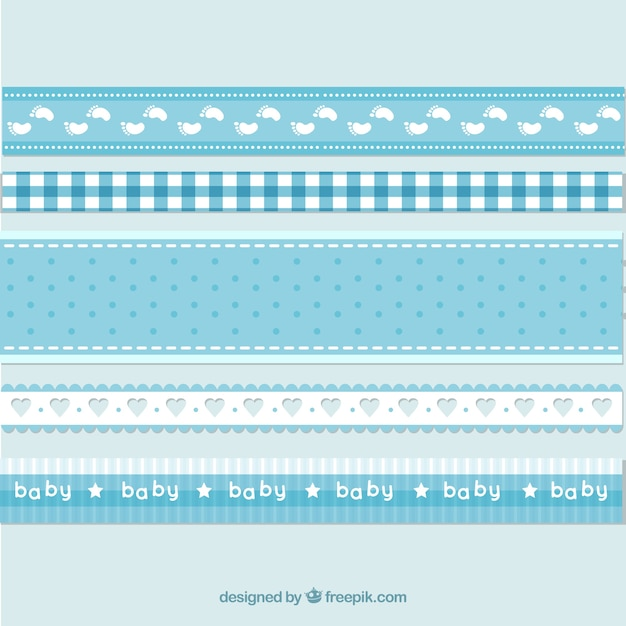 Blue and white baby ribbons Free Vector