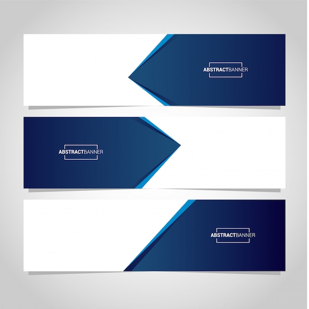 Blue and white banner Premium Vector