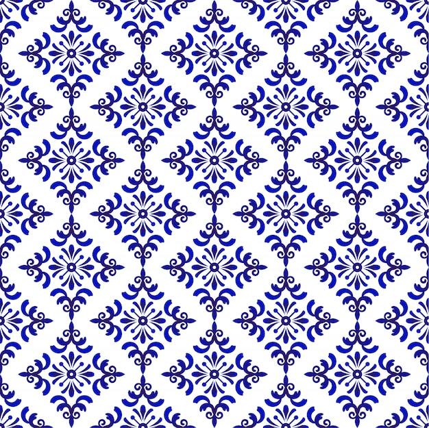 Blue and white baroque and damask pattern, seamless floral decorative background Premium Vector