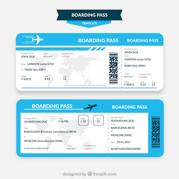 Blue and white boarding pass template | Free Vector