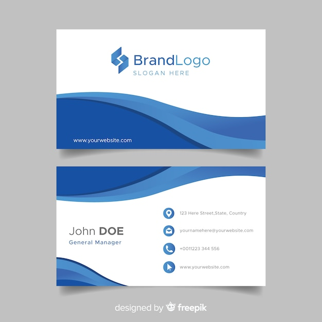Blue and white business card template with logo Free Vector