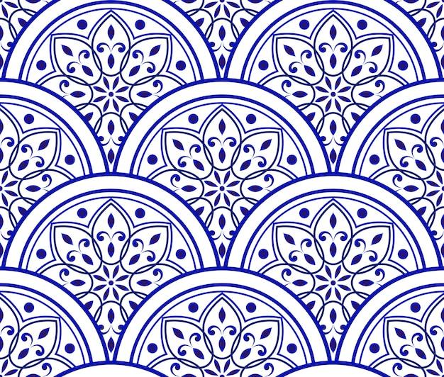 Blue and white ceramic pattern Premium Vector