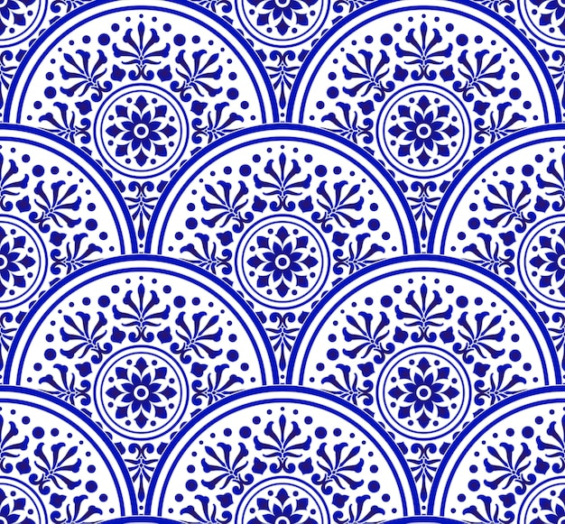 Blue and white chinese pattern with scale patchwork style, abstract floral decorative indigo mandala for your design element, ceramic porcelain damask wallpaper seamless decor Premium Vector