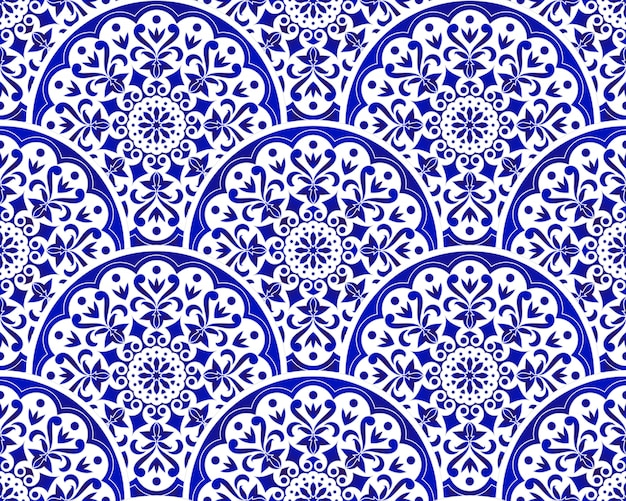 Blue and white chinese pattern with scale patchwork style, abstract floral decorative indigo mandala Premium Vector