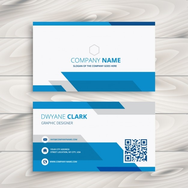 Blue And White Corporate Business Card Free Vector