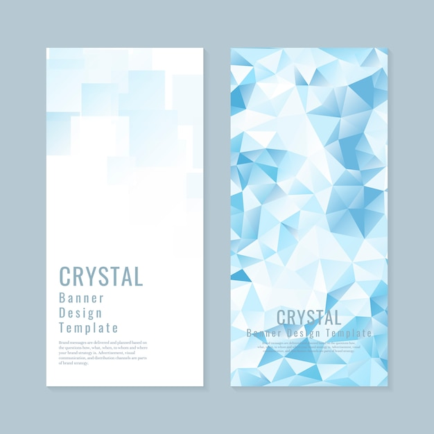 Blue and white crystal textured banner template vector Free Vector