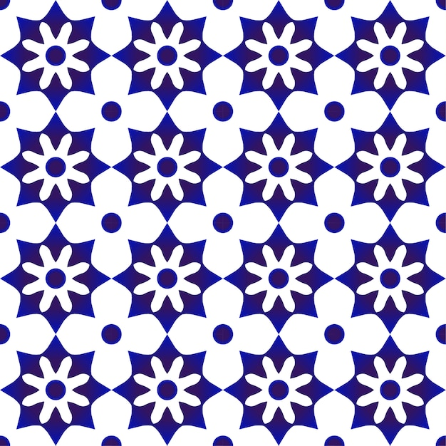 Blue and white cute tile pattern Premium Vector