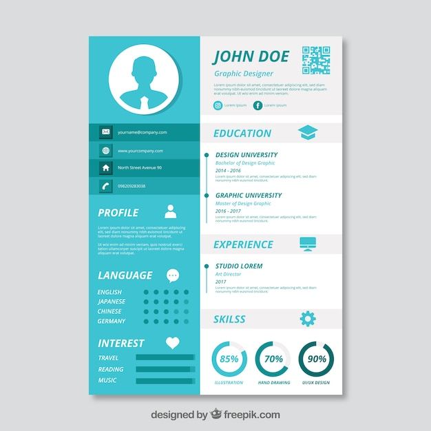 blue and white cv template vector