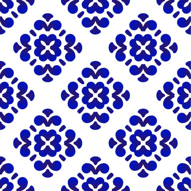 Blue and white decorative tile patterb Premium Vector