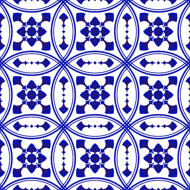 Blue and white decorative tile pattern Premium Vector